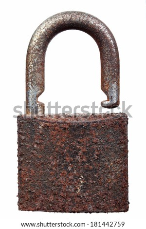 rusty lock isolated on white background