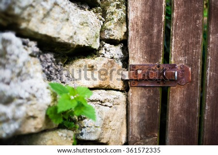 Rusty lock on a wooden door - stock photo