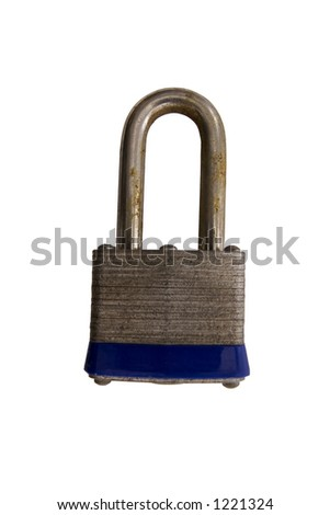 Rusty Lock on White Background