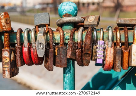 rusty love padlocks as a married tradition in wroclaw - stock photo