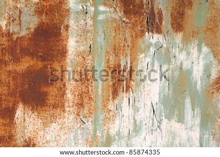 Rusty metal grunge background. Rusted steel tin abstract pattern. - stock photo