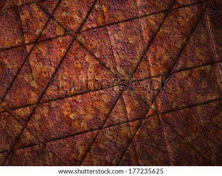 Rusty metal lined surface, may be used as background - stock photo