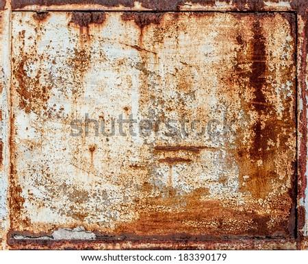 rusty metal panel - stock photo