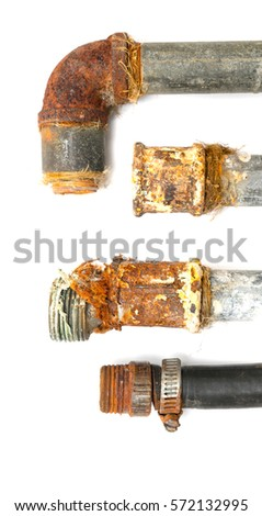 rusty metal pipe on a white background