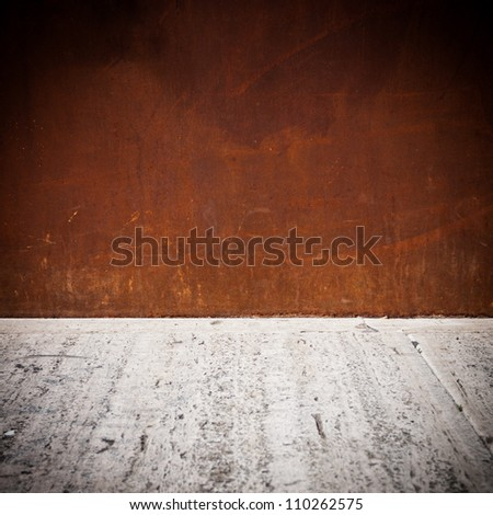 rusty metal plate background with concrete cement floor - stock photo
