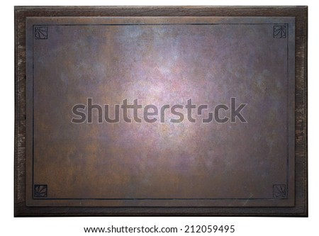 rusty metal plate on wooden frame - stock photo