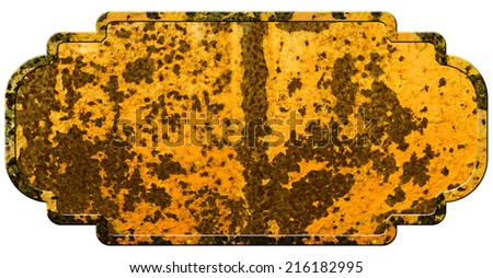 Rusty metal plate sign, isolated on white background - stock photo