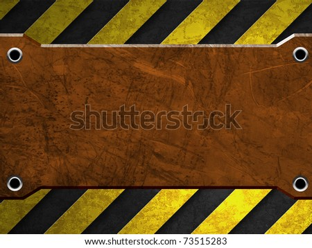 rusty metal plate with warning stripe
