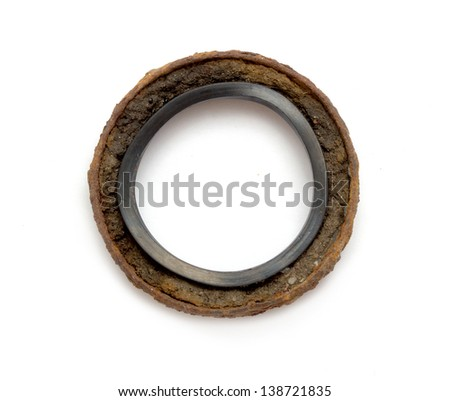 rusty metal ring on a white background