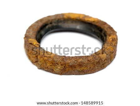 rusty metal ring on a white background - stock photo