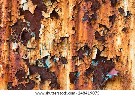 Rusty metal surface with rich and various texture - stock photo