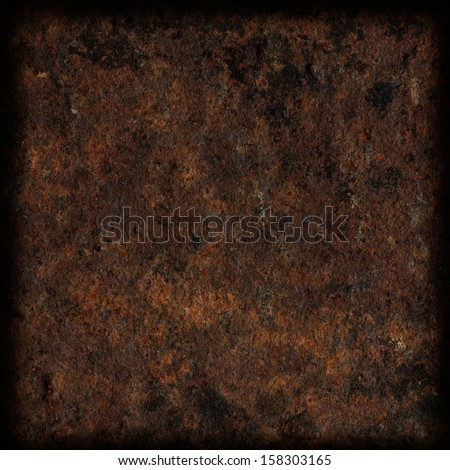 rusty metal texture, dark frame with blurred corners