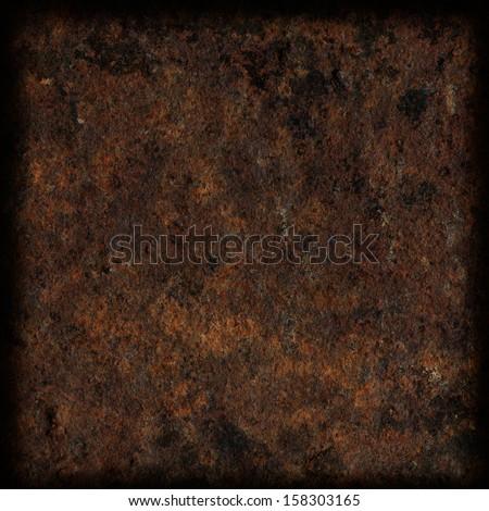 rusty metal texture, dark frame with blurred corners - stock photo