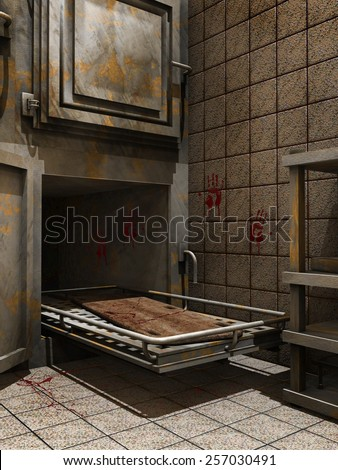Rusty morgue tray with blood on the wall