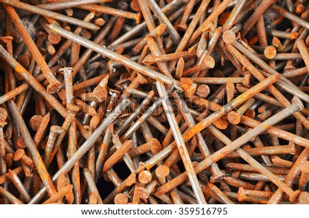 Rusty nail, close up, as background, DOF - stock photo