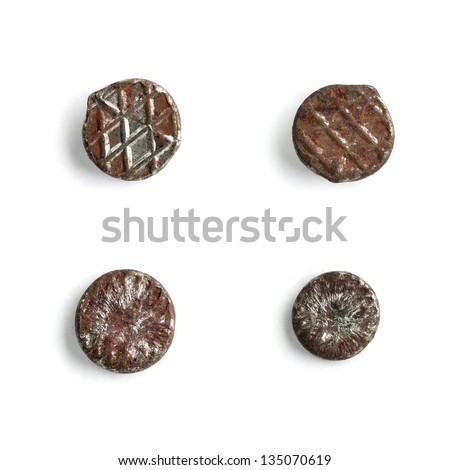 Rusty nail head set isolated on white background - stock photo