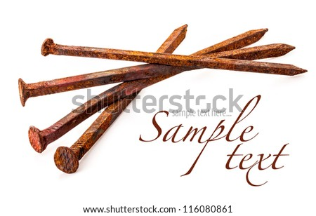 rusty nails isolated on a white background