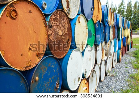 Rusty oil tank corrosion in industrial applications. - stock photo