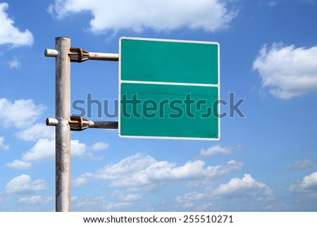 Rusty old and dirty blank road sign on blue sky background - with clipping path - stock photo