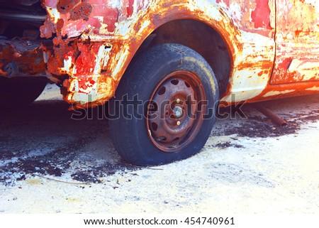 Rusty old car. - stock photo