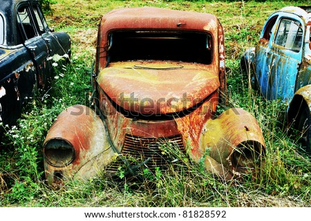 Rusty old car wreck