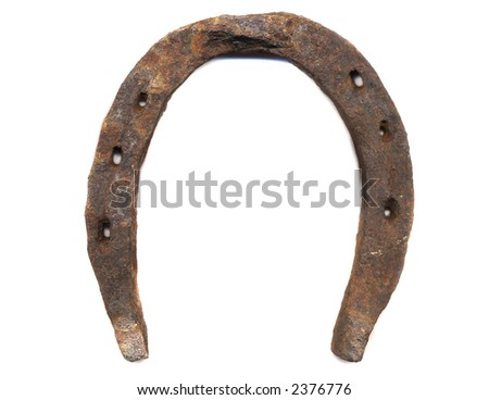 rusty old horseshoe on white background