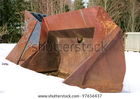 Rusty old industrial scoops - stock photo