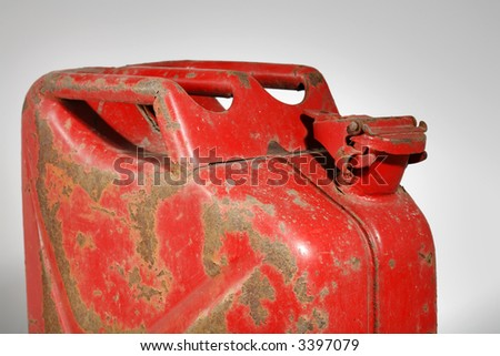 Rusty old jerry gas can - stock photo