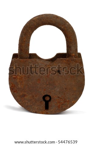 Rusty Old Lock isolated on a white background
