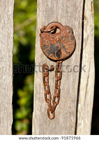Rusty old padlock and chain fastening a garden gate