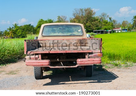 Rusty Old  Pickup in farm - stock photo
