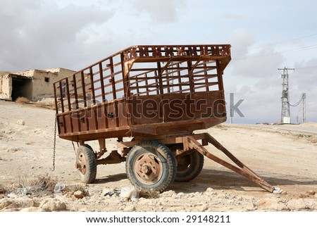 Rusty old trailer. Syria - stock photo