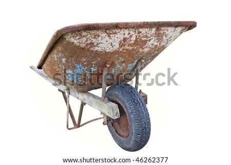 Rusty old wheelbarrow isolated on white - stock photo