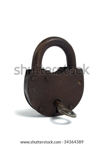 Rusty padlock over white - stock photo