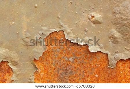 Rusty painted metal surface. Cracked iron construction background - stock photo