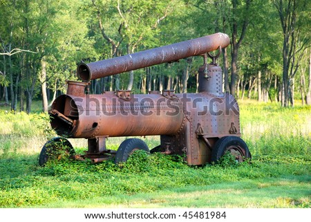 Rusty piece of historical raid road equipment. - stock photo