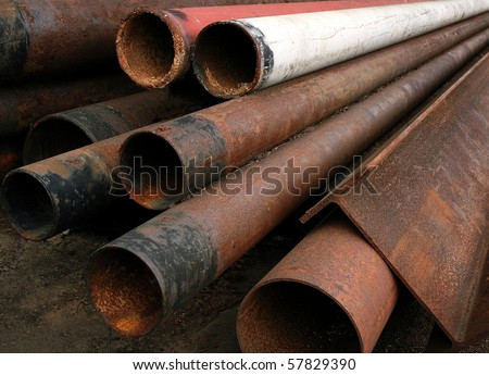 rusty pipe - stock photo