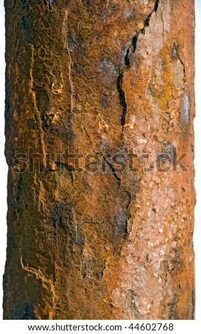 rusty pipe, heavily corroded, with beautiful texture - stock photo