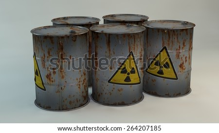 Rusty radioactive barrels with sign of radiation. 3D - stock photo