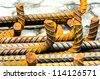 Rusty reinforcing bars. - stock photo