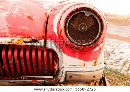 rusty retro car  headlight - stock photo