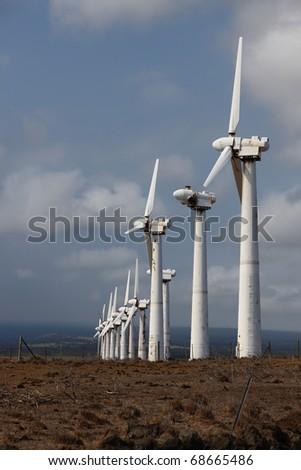 Rusty, run-down wind power station on Big Island, Hawaii - stock photo