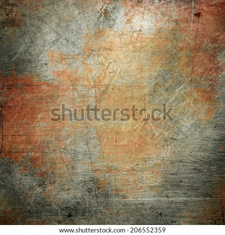 rusty scratched metal plate - stock photo