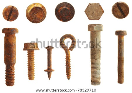 rusty screws and bolts isolated on white - stock photo