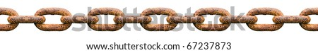 Rusty seamlessly chain isolated on white background. - stock photo