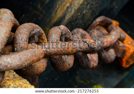Rusty Ship Anchor Chain On Dry Coast In The Port - stock photo