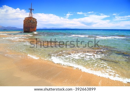 Rusty shipwreck on the shores of Selinitsa beach, Gythio, Greece