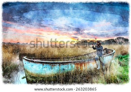 Rusty shipwrecked boat in Poole Harbour in Dorset