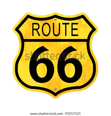 Rusty sign for the Route 66. - stock photo