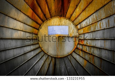 Rusty steal texture of a storage tank closeup photo - stock photo